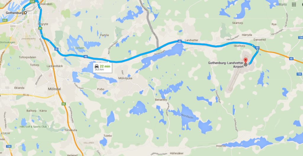 Google Map Gothenburg Center to Landvetter