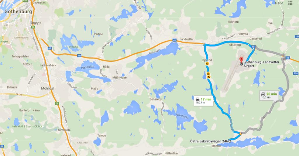 Google Map Landvetter to Evika